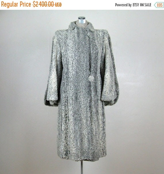 Moving Sale...30% Off 1930s RARE Persian Lamb Fur Coat 30s Silver Lamb Coat with Double Sleeves Size M Free Shipping