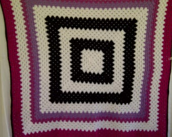 46x46 Approx. Afghan in Pinks, Orchid, Black, White