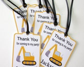 Set of 12 Thank You Party Favor Tags, Construction Trucks Party Personalized Birthday Party Favors Tags Thank You Gift Tags, Party Supplies
