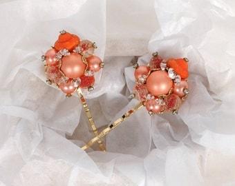 Orange Hair Pins, Wedding Hair Pieces, Bridal Bobby Pins, Peach Coral Hairpins, Vintage Bridesmaid Hair Accessory, Rustic Pearls and Crystal