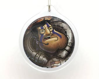 Upcycled Comic Book Keychain Featuring - Stan and Francine