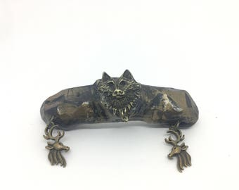 Hand Sculpted Clay and Metal Wolf with Stags Hair Clip