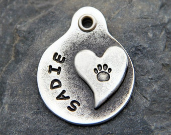 Pet Tags Dog ID Tags Custom Dog Tag Pet ID Tags Dog Tags Heart with Paw Print Hand Stamped Pet Tag