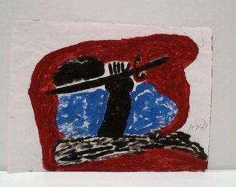 George Paul Kornegay Folk Art Dream Painting Sword of God Paper Drawing Outsider American Artist Self Taught Vintage Art Brut
