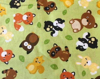 Woodland Animals on Green Cotton Print 1.5yds
