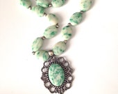 Tree Agate   Necklace ,Vintage Style ,Pendant Necklace  ,Handmade Cameo style Necklace ,Lyrisgems