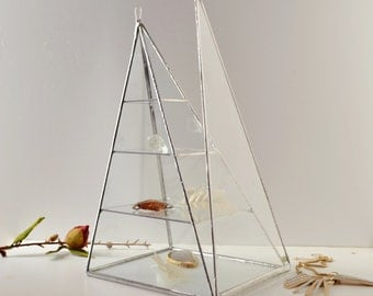 Glass Box Pyramid, Three shelves, Display Box Clear Glass Jewelry Box Pyramid With a Hinged Door