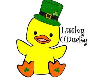 SVG - Lucky ODucky - St Patricks Day SVG - 4  Leaf Clover - child tshirt svg - Duck svg - Chick svg - Clover - Onesie SVG