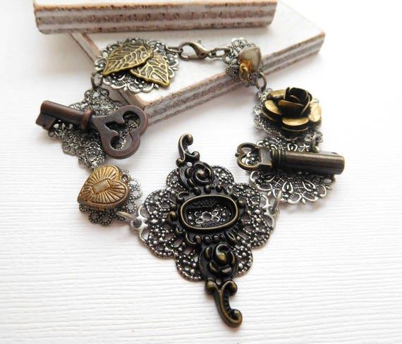 Gothic Victorian Steampunk Key Heart Locket Flower Charm Filigree Bracelet N33
