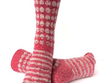 Socks, Hand Knit Unique Socks, Striped Socks, Circle Design, Boho Socks, Men Women Socks, Bohemian Socks, Rasberry, Hipster Socks, Unique