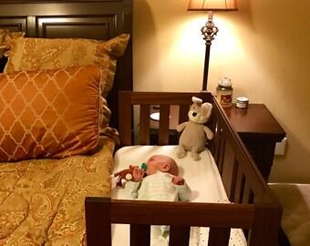 Mahogany Slat-Sided Sidecar Baby bed