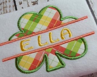 Applique Split Shamrock machine embroidery design, Applique Split monogram design, St. Patricks Day, embroidery shamrock, four leaf clover