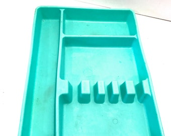 Vintage Awesome Retro Turquoise Teal Aqua Kitchen Gadgets Flatware Silverware Drawer Organizer Tray Caddy Rubber Molded Plastic