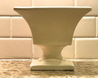 Vintage HAEGER Simple White Matte Ceramic Pottery SMALL Planter Creamy White Square Pedestal Bowl flair fluted angles  detail pedestal