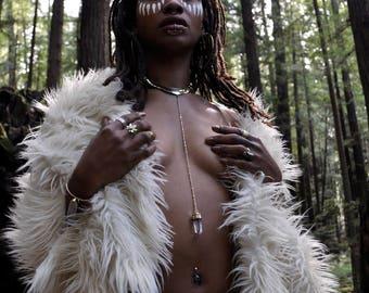 High Priestess Collar // Quartz Point Pendulum Necklace