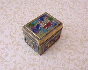 Handsome Antique Enameled Brass Chinese Stamp Box