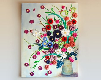 Flower Pot CROCHET + PAINTING on CANVAS, Vase holding Crochet Wildflowers,  Dimensional, Colorful