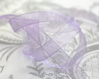lavender Organza Ribbon 3/8 -- 4 yards -- 9.5mm