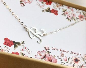 Choker/ Letter Necklace /  Hammered Sideways Script Letter Necklace / Letter Necklace/ 925 Sterling Silver Letter necklace / Monogram Choker