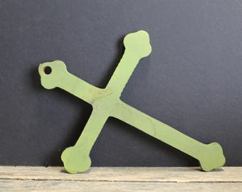 Vintage Cast Iron Cross Wallhanging // Green Metal