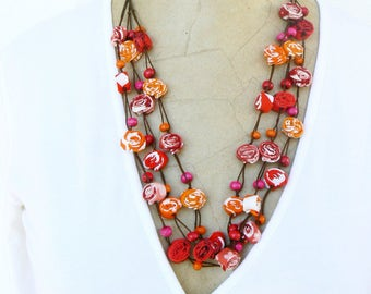 Boho chic Textile Necklace, Long Gypsy necklace, Ecofriendly cotton jewelry, Hippie style, Fabric romantic necklace, Red, Orange, Pink Mauve