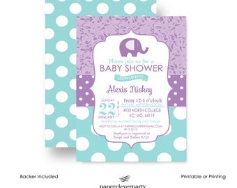 Purple Elephant Invitation for Girls Baby Shower Charming Damask and Aqua Polka Dot Personalized Printable Template or Printed Invite Set