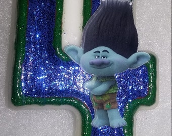 Dreamworks Trolls Branch Birthday Number Candle