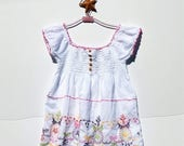 15% OFF EASTER SALE  . Easter Colors Embroidered Smocked India Cotton Boho BabyDoll Summer Top