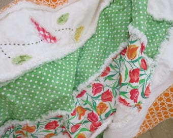 Homemade Quilt, Patchwork Lap Rag Quilt , FREE SHIPPING, Rag Quilt Throw, Country Quilt, Tangerine Quilt