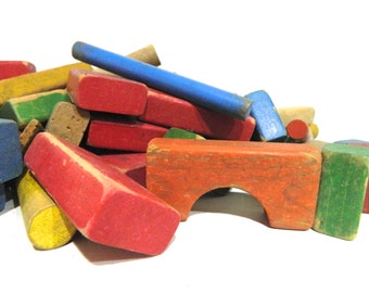 Vintage Toy Blocks Colorful Wood Blocks