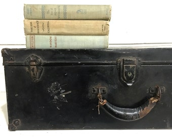 Vintage Metal Storage Trunk Foot Locker Leather Handle Suitcase Luggage
