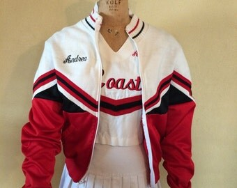Vintage 3 piece cheerleader uniform costume, outfit  Jacket top short skirt