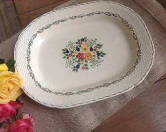 Adams Royal Ivory Titan Ware Blossom Time Hand Painted Vintage Large Platter Circa 1905