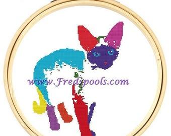 Siamese Cat Cross Sticth Kit, Colorful Kitten, Needlecraft pattern with DMC materials, Cat Cross Stitch kit, Rainbow Cat Stitch,
