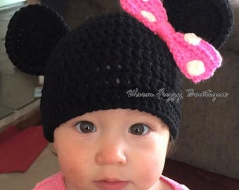 SALE 20% OFF Baby Minnie Mouse Hat - Crochet Newborn NB Beanie Boy Girl Costume Preemie Halloween  Photo Prop Christmas Gift Winter Outfit