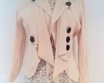 Vintage 1980s light peach open back blouse tuxedo jacket black roses small