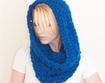 WINTER SALE The CHARLOTTE cowl - Chunky Cowl Scarf Shawl Hood - Royal Blue - limited quantities