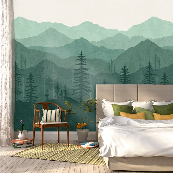 Teal Ombr 233 Mountain Wallpaper Forest Tree And Mountain