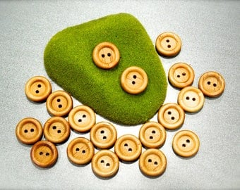 VINTGE: 24 Small Wood Buttons - Natural Wood Buttons - SKU 17-B1-00008135