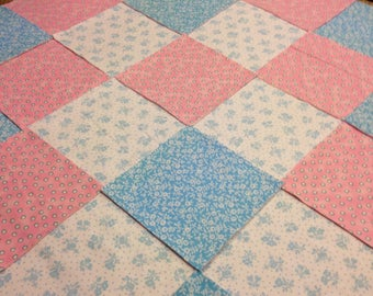 """Baby Pink white blue Rag quilt kit 75 pre cut 8"""" squares, 3 layers of flannel, pre cut top, liner and back, finished is approx 35x35"""