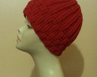 Crocheted Beanie Hat, Crochet Skullcap Beanie, Crochet Ribbed Hat, Textured Hat, Winter Hat. FREE UK DELIVERY