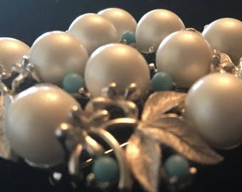 Sarah Coventry 1970s Large Silver Snowy Pearl and Turquoise Pin Broach