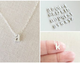 Personalized Initial Necklace | Lowercase Initial Charm Necklace | Silver Initial Charm | Kid's Initial Necklace | Bridesmaids Jewelry
