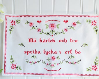 "Romantic wallhanging cross stitch embroidery, handmade vintage Swedish , pink and green , 14 "" x 24 """