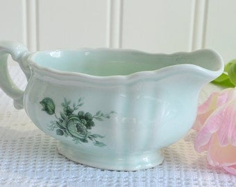 Green creamer, vintage Swedish gravy boat, green rose pattern, mint green porcelain, Rorstrand Sweden , small damage
