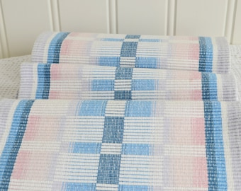 "Rustic table runner, pink blue , vintage Swedish linen , country  cottage style,  9 "" x 52 """