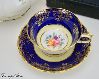 ON SALE Paragon Cobalt Blue Teacup and Saucer Set, English Bone China Tea Cup Set, Elegant Tea Party, Cabinet Collector's Cup, ca. 1952-1960