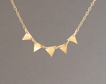 FIVE Triangle Necklace in Gold Fill Sterling Silver and Rose Gold Fill