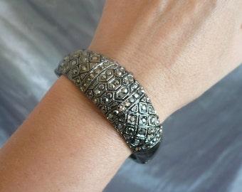 Vintage Marcasite Bracelet - Art Deco Vintage Marcasite Crystal Bangle Bracelet - Prom, Wedding, Formal, Evening Wear