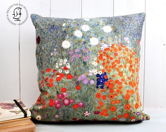 """Gustav Klimt's """"Bauerngarten"""" cushion. Flower garden in Red, Green, Purple - Reproduced on our made to order Cushions"""